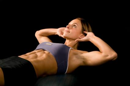 female with strong abdominal muscles